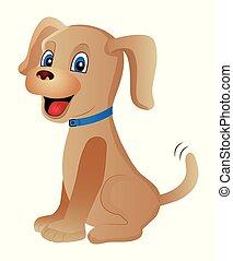 cartoon, hund, baggrund., cute, hvid, isoleret