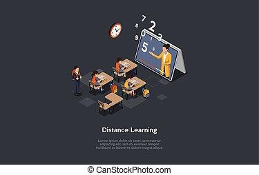 cartoon, interior, børn, isometric, komposition, vektor, begreb, lærdom, style., afstand, illustration, characters., studerende, klasseværelse, stor, 3, skriveborde, tablet, lærer, siddende, skærm