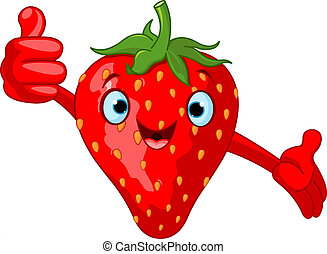 cartoon, jordbær, muntre, charac