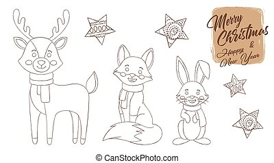 cartoon, kanin, ræv, children., cute, dyr, vinter, heriblandt, reindeer., bog, coloring, side