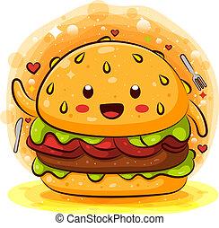 cartoon, kawaii, køle, velsmagende, hamburger, karakter