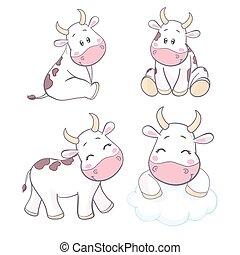 cartoon, ko, konstruktion, cute, karakter