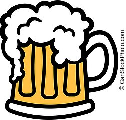 cartoon, krus, skum, øl