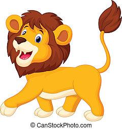 cartoon, løve, gå
