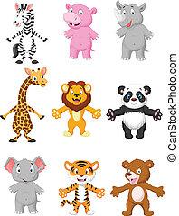 cartoon, poser, dyr