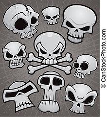 cartoon, samling, kranium