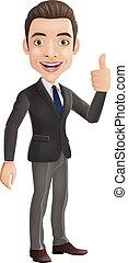 cartoon, tommelfingre, viser, oppe, forretningsmand, tegn
