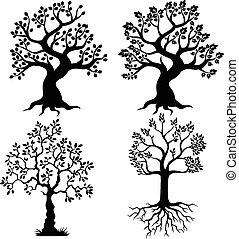 cartoon, træ, silhuet