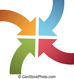 centrum, punkt, farve, kurve, pile, konvergere, fire