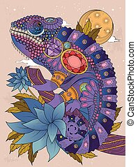 chameleonb, coloring, voksen, side