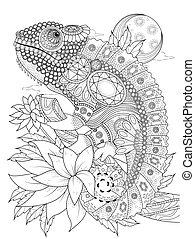 chameleonb, voksen, side, coloring