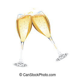 champagne, to, glas