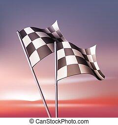 checkered, vektor, flag