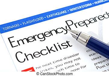 checklist, beredskab, nødsituation