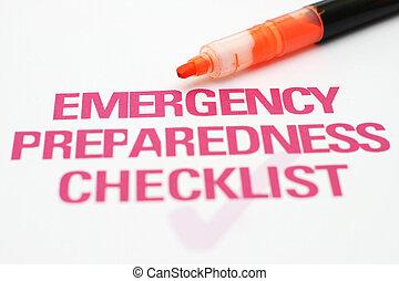 checklist, nødsituation