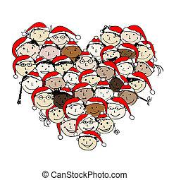 christmas!, konstruktion, merry, det peoples, din, glade
