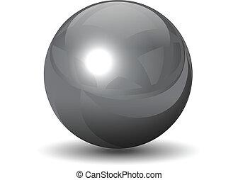 chrome, sphere, vektor, metallisk
