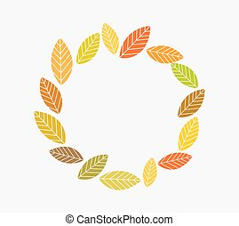 cirkel, blade, efterår, border.