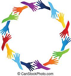 cirkel, samfund, hænder