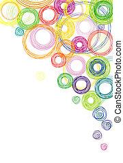 cirkler, abstrakt, farvet baggrund