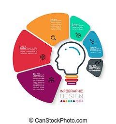 cirkler, infographics., seks, firma, ikon