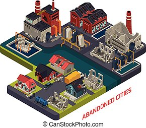 cities, forladt, komposition, isometric