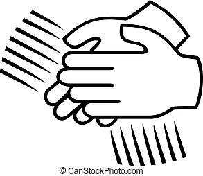 clapping, tegn, -, bifald, hænder