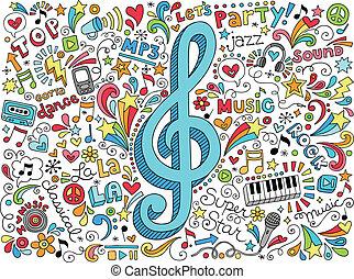 clef, musik, doodles, notere, topfine