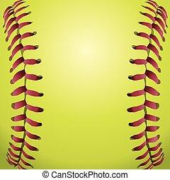 closeup, snørebånd, baggrund, softball