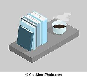 coffee., illustration, isometric, kop, vektor, bøger, illustration.