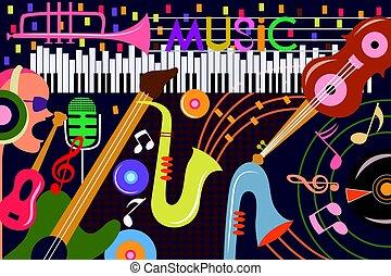 collage, abstrakt, musik, baggrund
