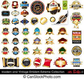 collection., emblems, ekstremt, moderne, vinhøst