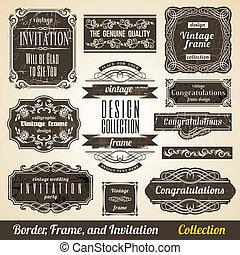 collection., ramme, calligraphic, invitation, hjørne, element, grænse