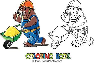 coloring, book., walrus, w, alfabet., arbejder, alfabet