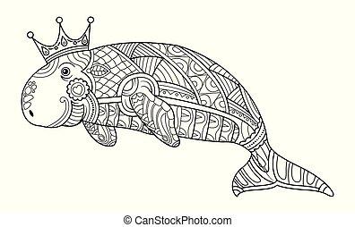 coloring, dugong, bog, voksen, vector., side