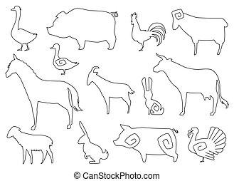 coloring, dyr, agerjord, isoleret, silhuetter, vektor, white., bog