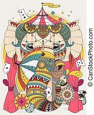 coloring, elefant, voksen, side