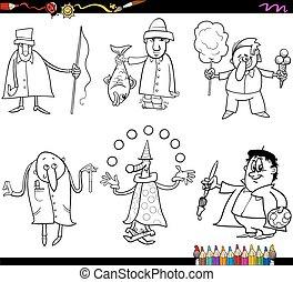 coloring, folk, side, professioner
