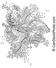 coloring, fugle, voksen, side