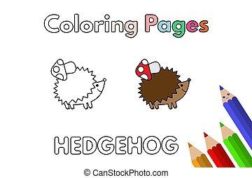 coloring, hedgehog, cartoon, bog