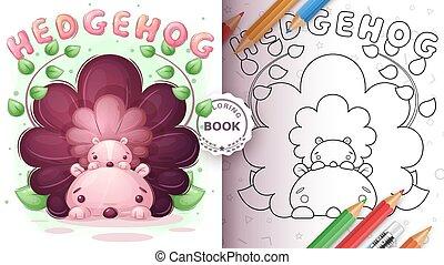 coloring, hedgehog, -, cute, familie, bog