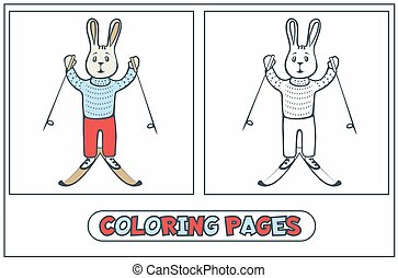coloring, kanin, skiløber