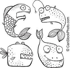 coloring, kunst, fish, beklæde, bog, sort, bogstaverne, morskab, hvid, cartoon