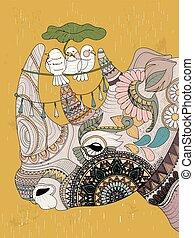 coloring, næsehorn, voksen, side