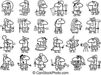 coloring, professioner, sæt, side