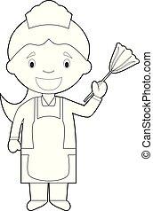 coloring, tjenestepige, illustration, cartoon, girl., vektor, rensning, let, eller