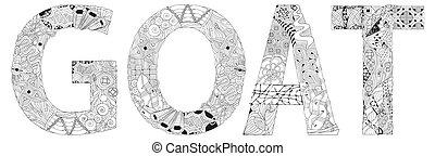 coloring, vektor, genstand, glose, goat., zentangle