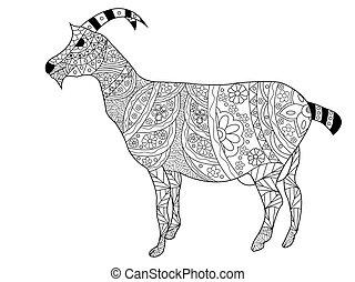 coloring, vektor, goat, voksne