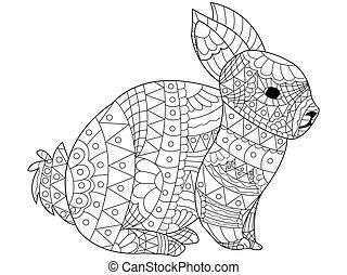 coloring, vektor, voksne, kanin
