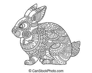 coloring, voksne, bunny, vektor, kanin, bog